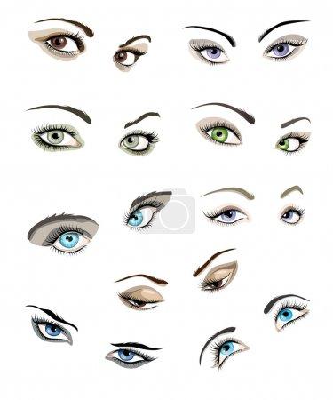 Illustration pour Set de 9 beaux yeux et sourcils de femme glamour . - image libre de droit