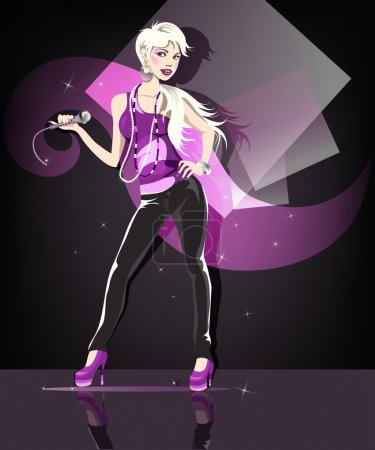 Illustration for Beautiful glamour karaoke blond girl. - Royalty Free Image