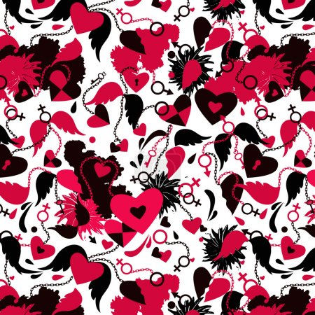 Illustration for Seamless background with broken hearts, wings, chains patterns. - Royalty Free Image