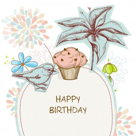 Illustration pour Joyeux anniversaire carte, cupcake, oiseau et fleurs - image libre de droit