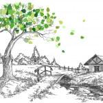 Green leaves spring tree, rural landscape, bridge ...