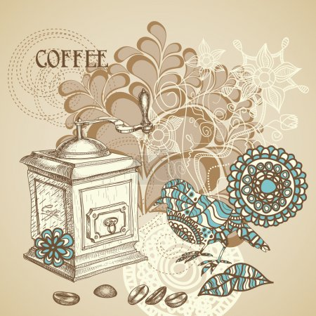 Retro coffee background featuring decorative bird grinding coffe