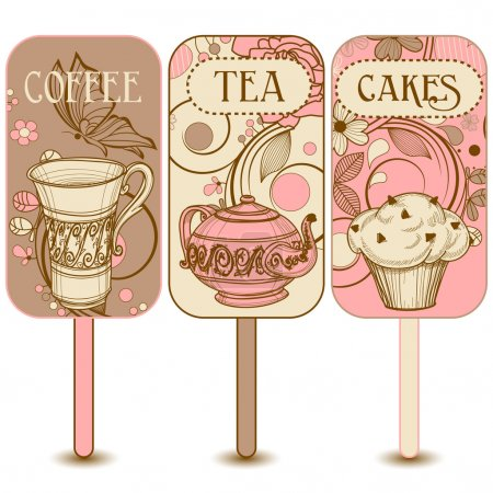 Coffee, tea and cakes labels