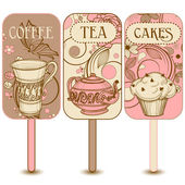 Coffee tea and cakes labels