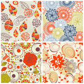 Floral seamless pattern set in trendy colors