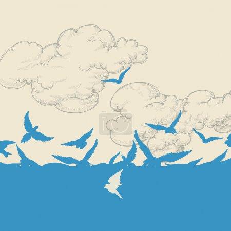Blue birds flying over sky vector illustration