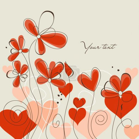 Cute floral background, love message...