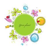 Floral frame green planet concept