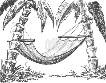 Illustration for Hammock and palm trees drawing - Royalty Free Image