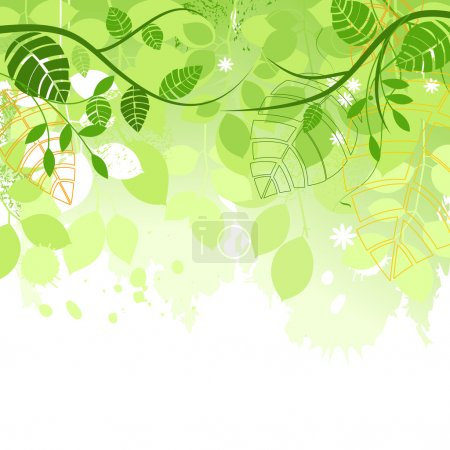 Illustration for Spring green leaves vector background - Royalty Free Image