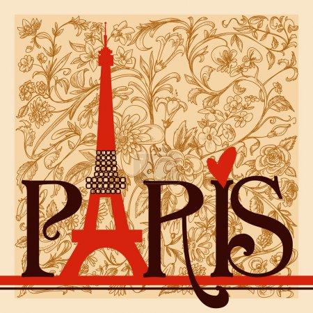 Ilustración de París Letras sobre fondo floral vintage - Imagen libre de derechos