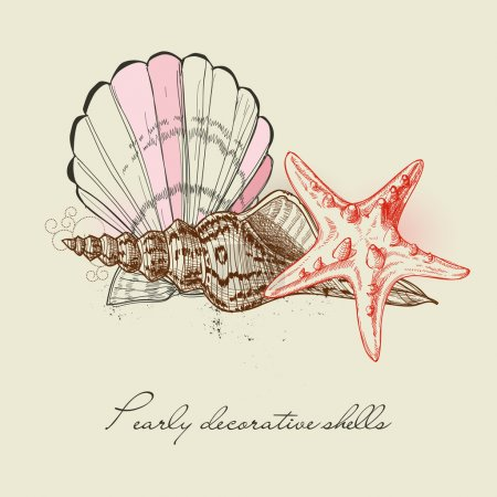 Illustration for Shells and starfish background - Royalty Free Image