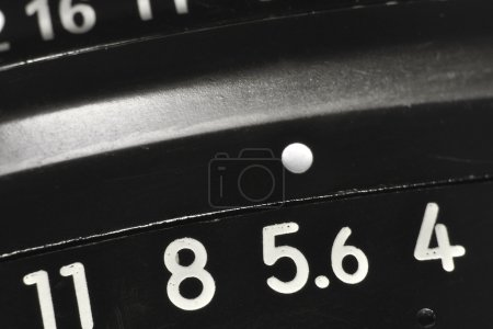 Photo for Vintage objective lens macro with apertures scale, shallow DOF; focus on 5.6 number - Royalty Free Image