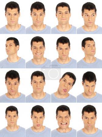 Photo pour Homme adulte visage expressions composite isolé sur fond blanc . - image libre de droit