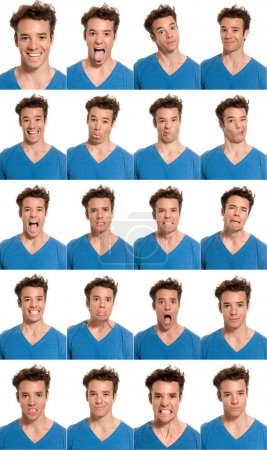 Photo for Young man face expressions composite isolated on white background. - Royalty Free Image