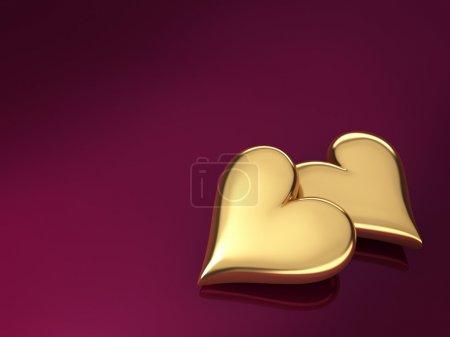 Photo pour Deux cœurs dorés sur fond violet, rendu 3d - image libre de droit