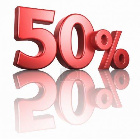 Photo pour Rouge brillant cinquante pour cent sur fond blanc avec plancher miroir, rendu 3d 50 % - image libre de droit
