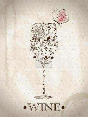 Illustration pour Image abstraite du verre à vin - image libre de droit