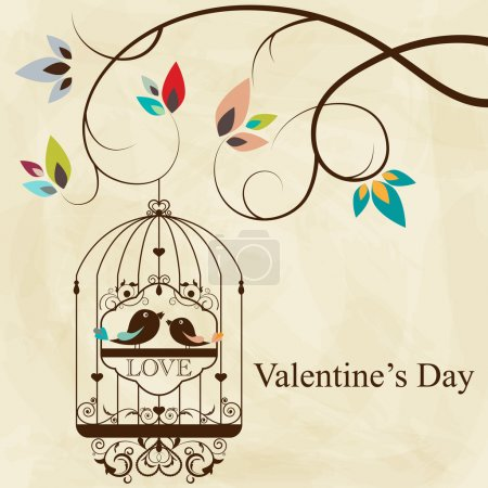 Photo for St. Valentine's day greeting card with birds - Royalty Free Image