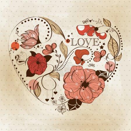 Illustration pour Coeur vintage. Carte de voeux de Saint-Valentin - image libre de droit