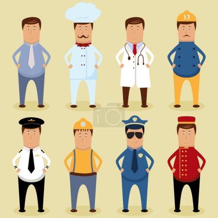 Photo pour Ensemble de travailleurs vectoriels - travailleur de glace, chef, médecin, pompier, pilote, menuisier, policier, portier - image libre de droit