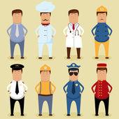 Vector worker set - ofice worker chef doctor fireman pilot carpenter policeman porter