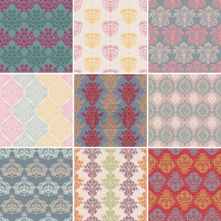 Set of seamless retro background