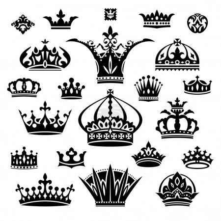 Illustration for Set of black different crowns vector illustration - Royalty Free Image