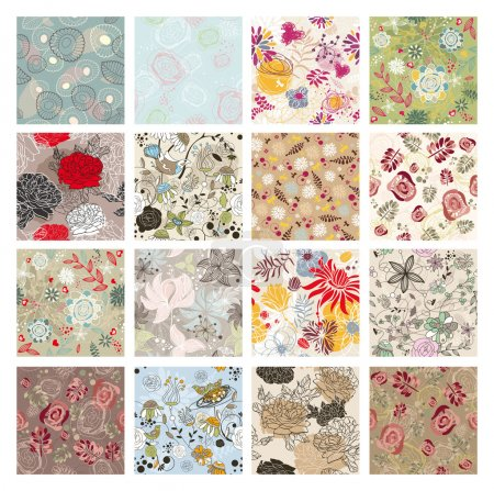 Illustration for Abstract vector set of seamless floral background - Royalty Free Image