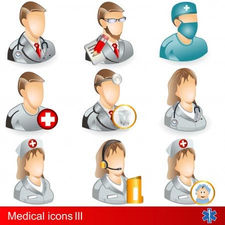 Illustration pour Collection d'icônes médicales - partie 3, professions médicales . - image libre de droit