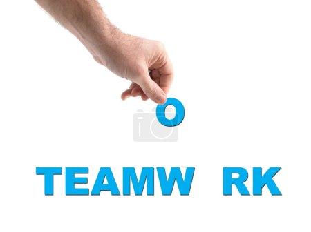 Photo pour Une image conceptuelle teamwork isolée sur blanc - image libre de droit