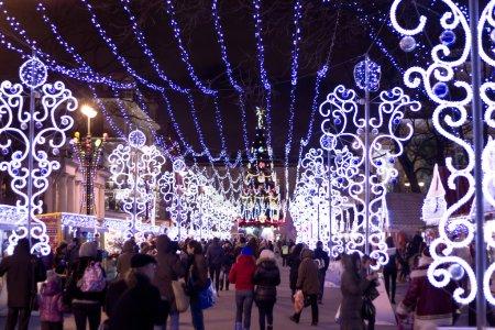 Photo pour Rue de Noël à Saint-Pétersbourg - image libre de droit