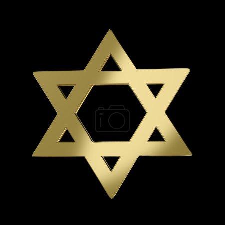 Golden Star of David on black