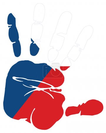 Hand print flag of czeck republic