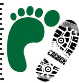 Green footprint and carbon shoe print measured side by side