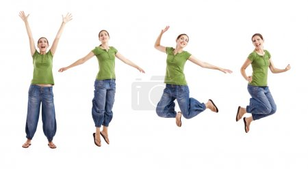 Photo for Beautiful happy woman jumping over a white background - Royalty Free Image
