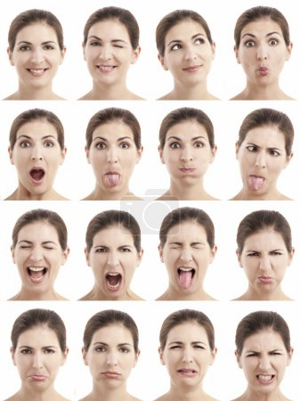 Photo for Multiple close-up portraits of the same woman expressing different emotions and expressions - Royalty Free Image