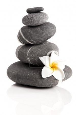 Photo pour Pyramide de pierres avec une fleur de plumeria, isolé sur fond blanc - image libre de droit