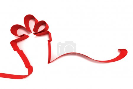 Photo for Abstract gift from ribbons isolated on white background - Royalty Free Image