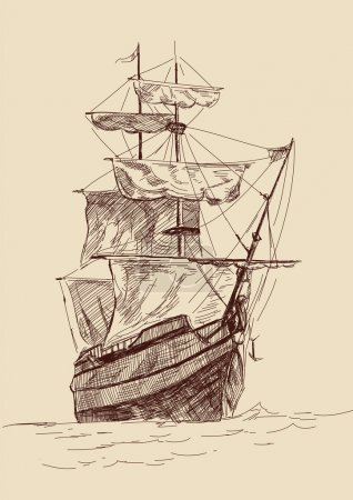 Illustration for Retro old Ships vintage drawing vector illustration - Royalty Free Image