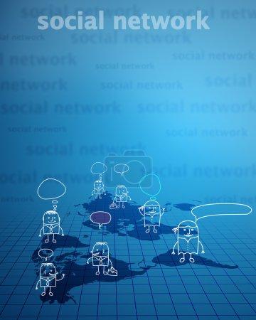 Photo pour Expérience en affaires, bleu réseau social de Pentecôte - image libre de droit