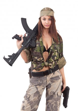 Young woman soldiers