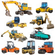 Set of construction machinery equipment isolated...