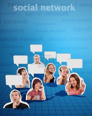 Photo pour Concept de réseau social avec des photos en fond de papier - image libre de droit