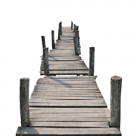 Photo for Wooden foot bridge isolated on a white background - Royalty Free Image