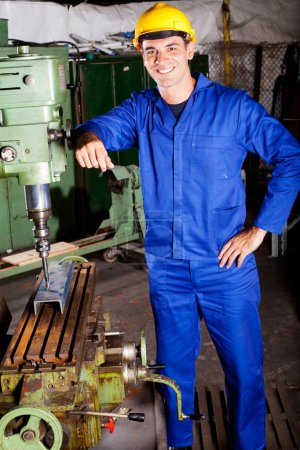 Photo for Portrait of industrial machinist inside workshop - Royalty Free Image