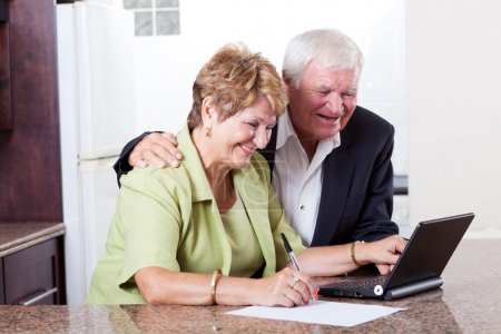 Happy senior couple checking bank balance