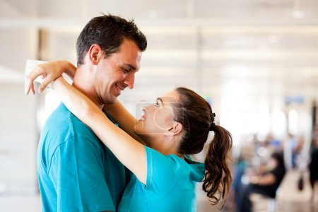 Photo for Loving young couple say good bye at airport - Royalty Free Image
