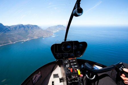 Beautiful coastal aerial view from helicopter