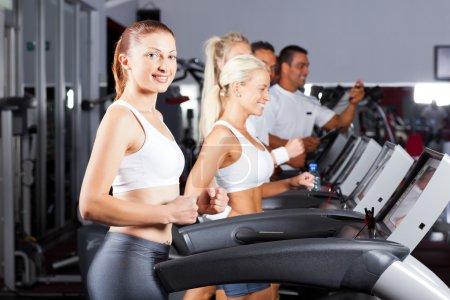 Fitness running on treadmill